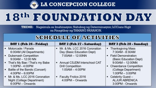 FOUNDATION DAY SCHED